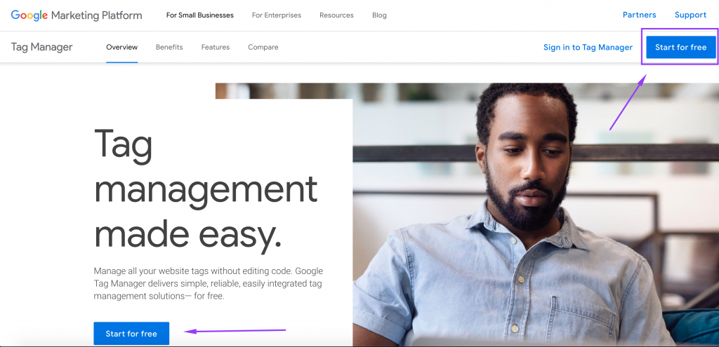 Google Tag Manager landing page