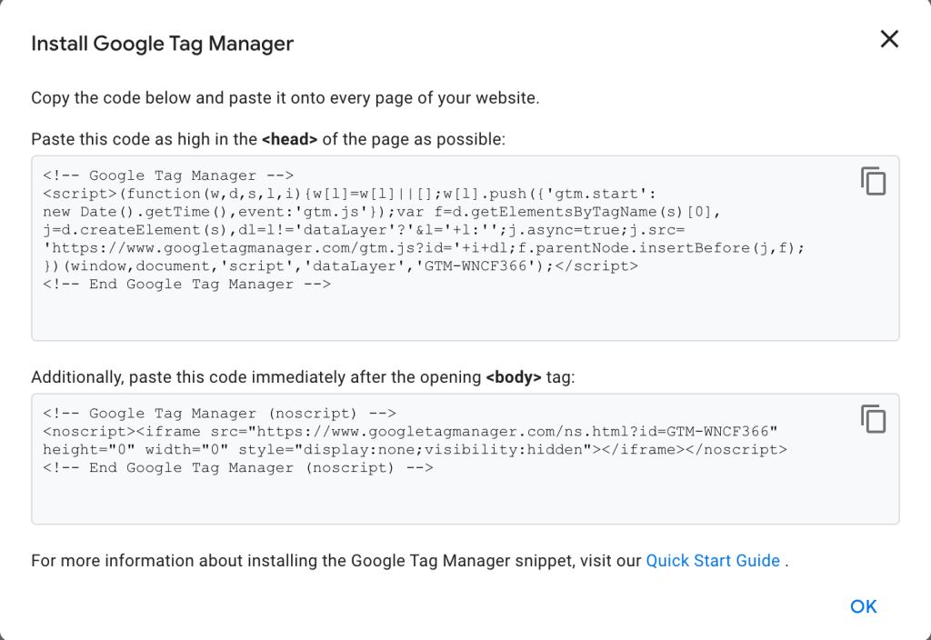 Google Tag Manager container snippet