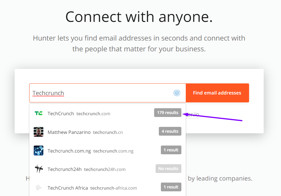 email finder tool screenshot