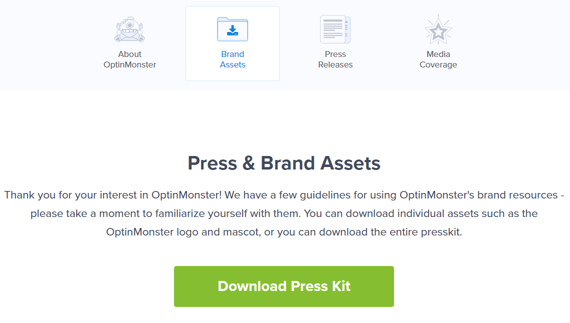 optin monster press kit screenshot
