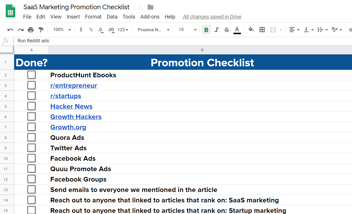 saas marketing checklist