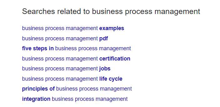 business process management lsi keywords