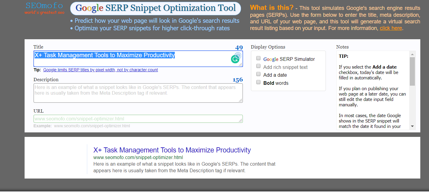 serp snippet optimization tool screenshot