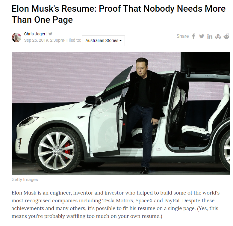 Elon Musks's one page resume