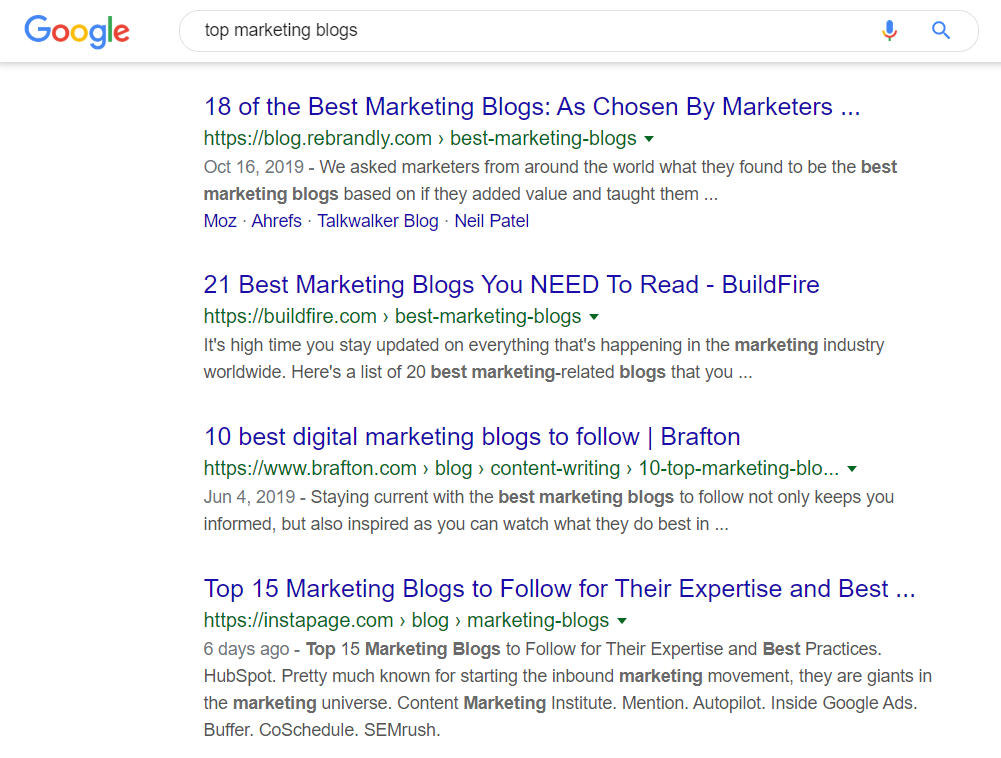 top marketing blogs google search results