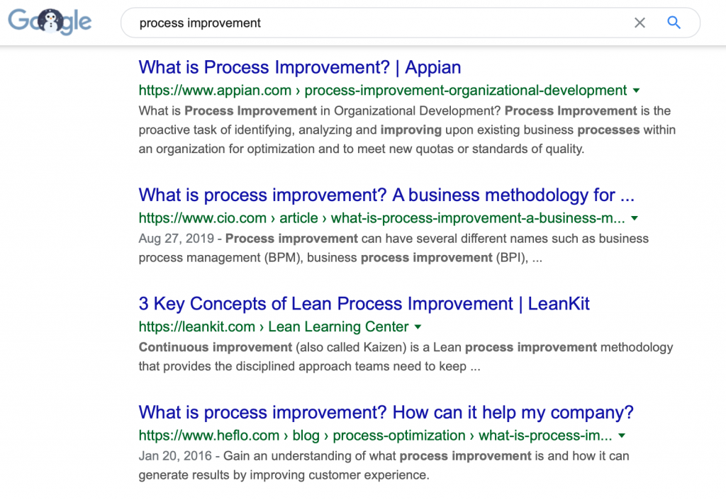process improvement google search results