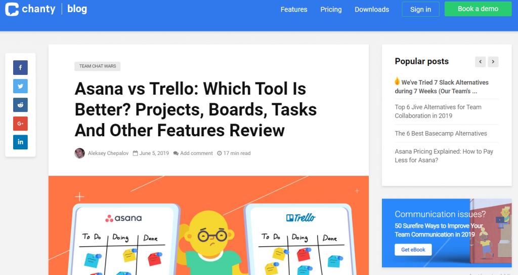 Asana vs Trello article