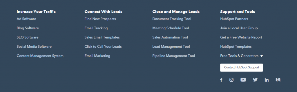 HubSpot website footer