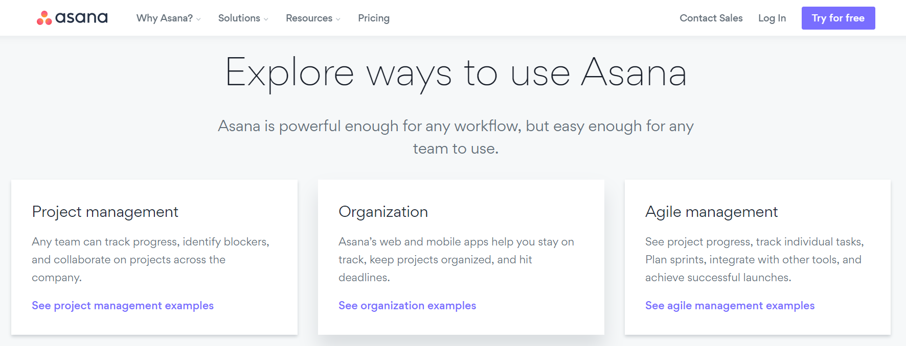 Asana landing page - saas marketing