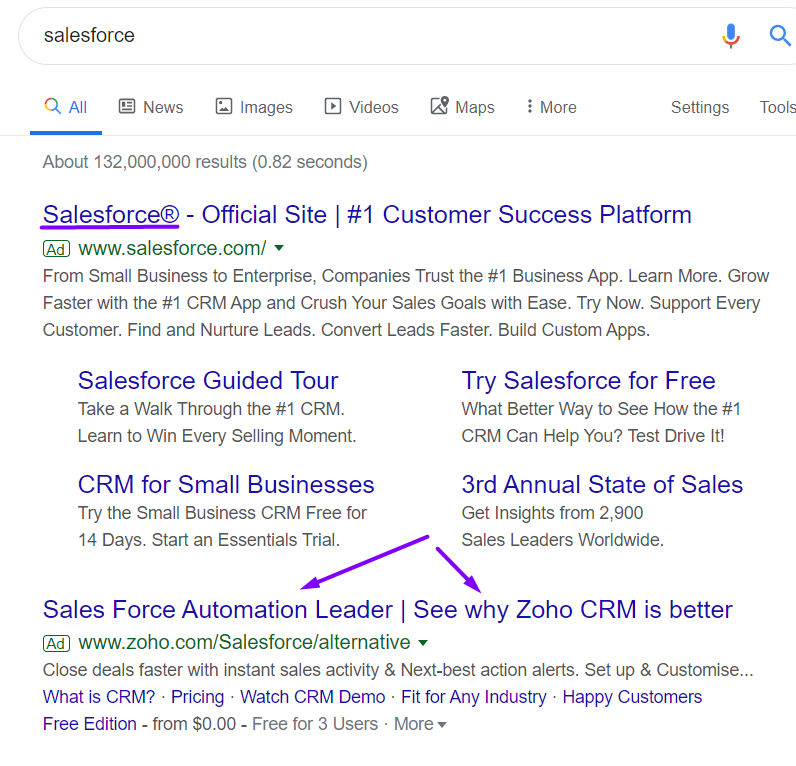 salesforce google search results