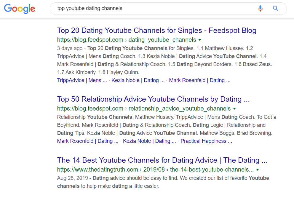top youtube dating channels google search results
