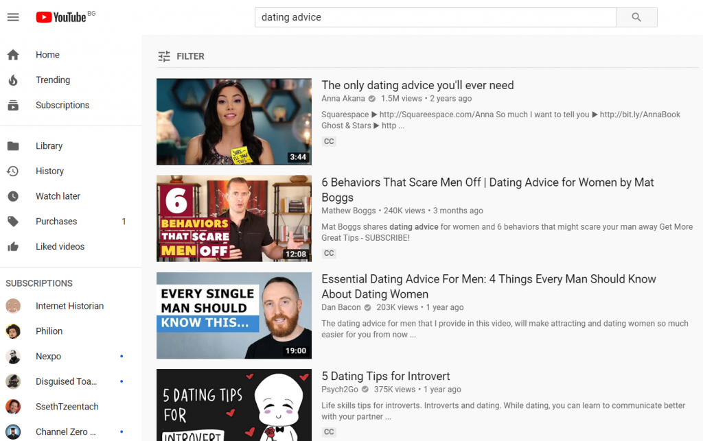 dating advice youtube search results