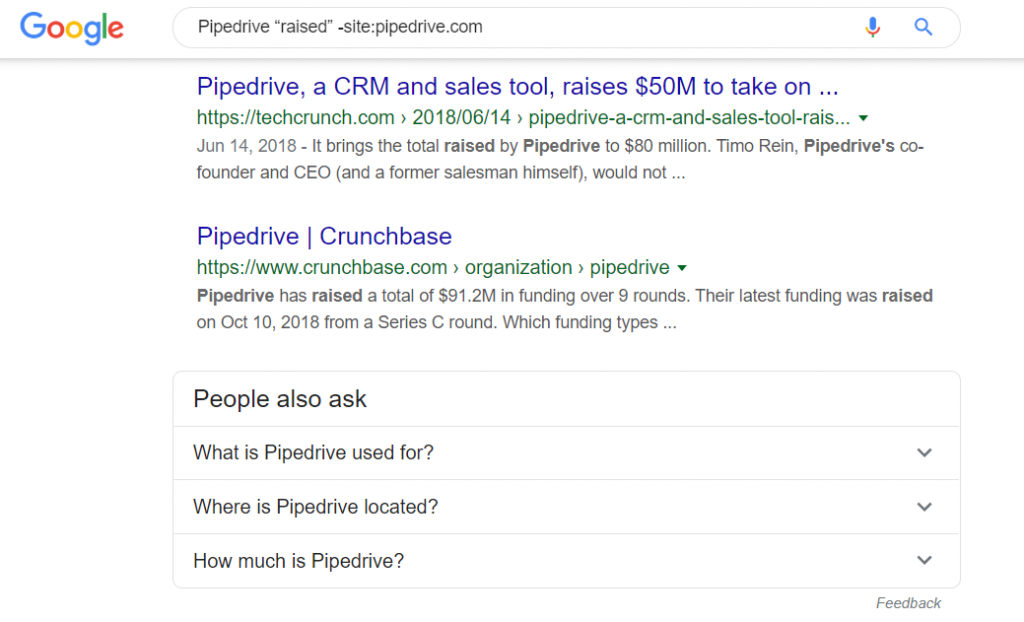 pipedrive raised google search