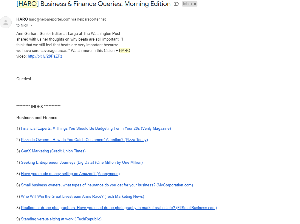 HARO Business and finance queries email