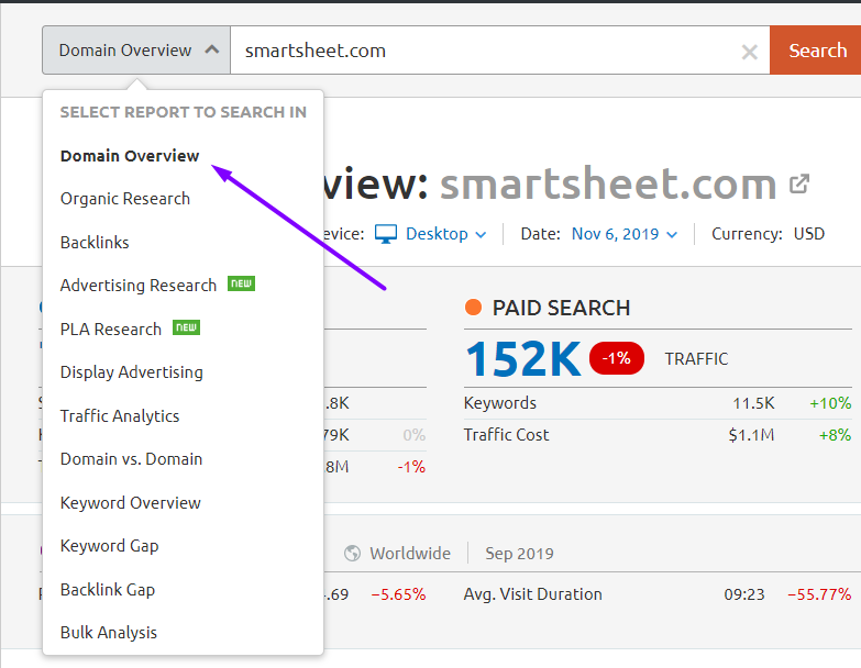 smartsheet on semrush
