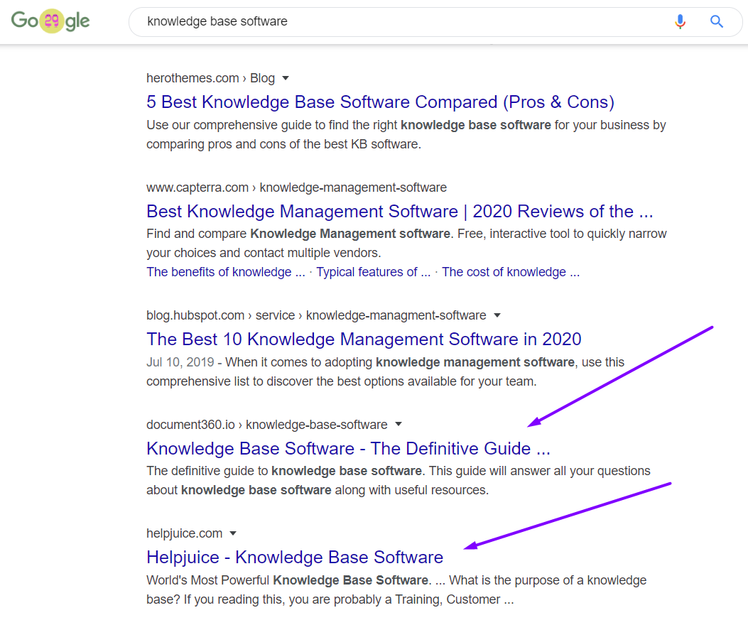 google search knowledge base software