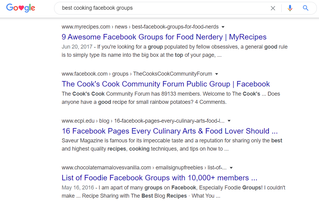 facebook group search google results