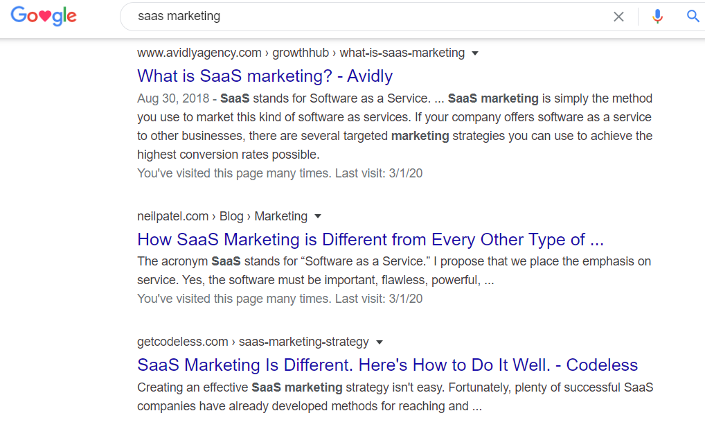 google search saas marketing