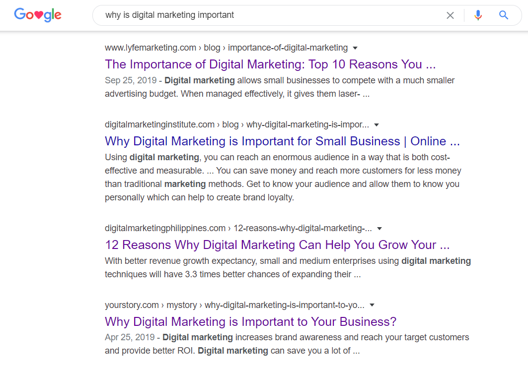digital marketing importance search results