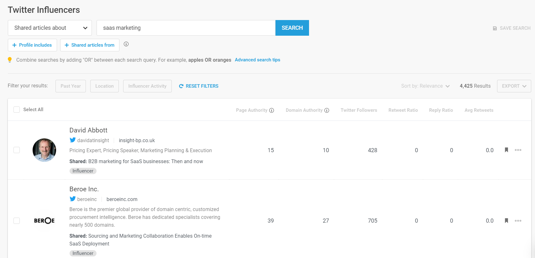 buzzsumo results for saas marketing