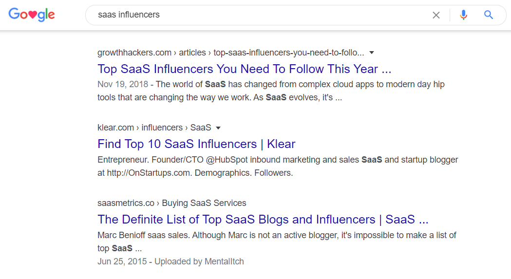 google search results saas influencers