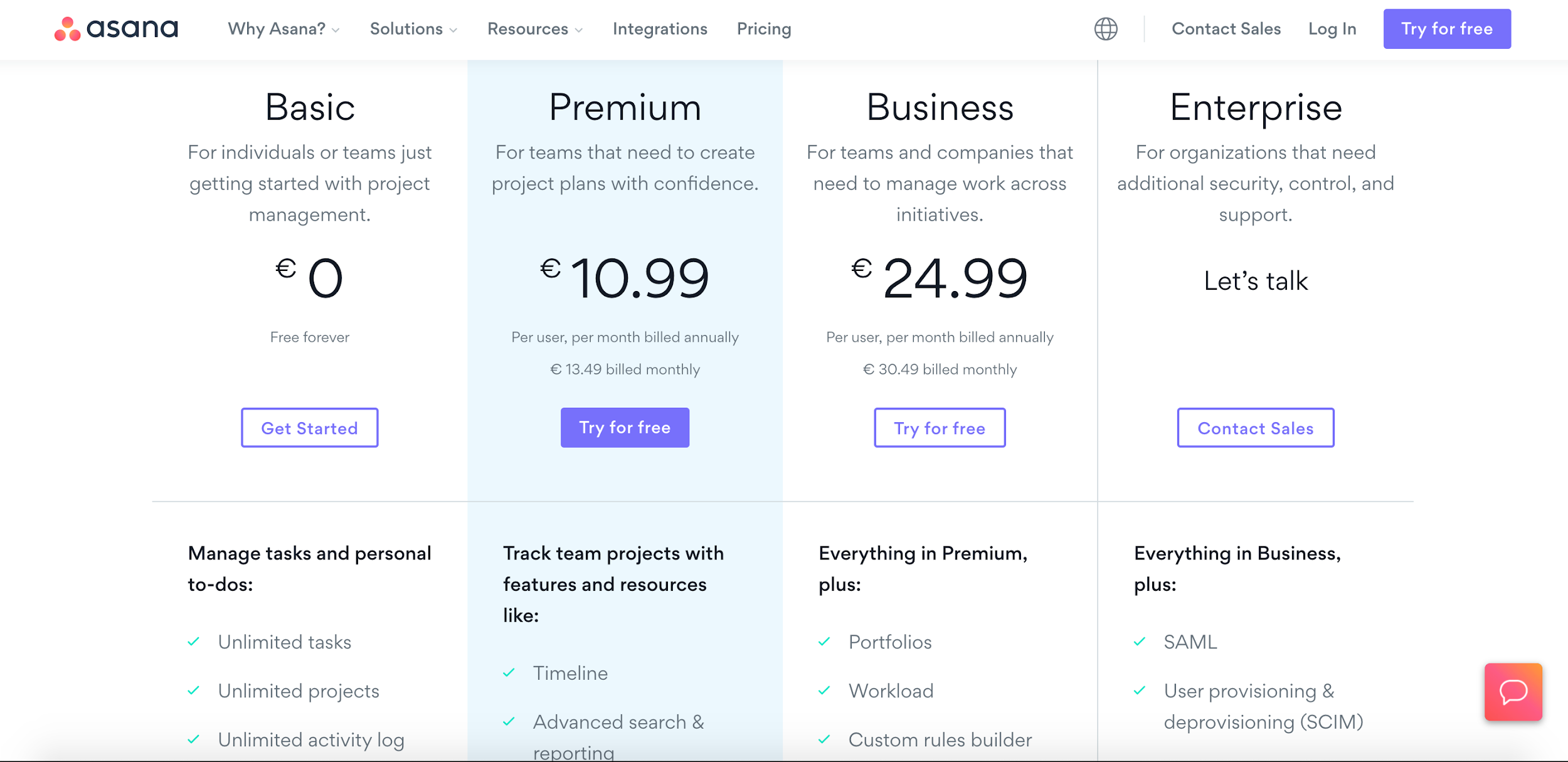 asana saas pricing models