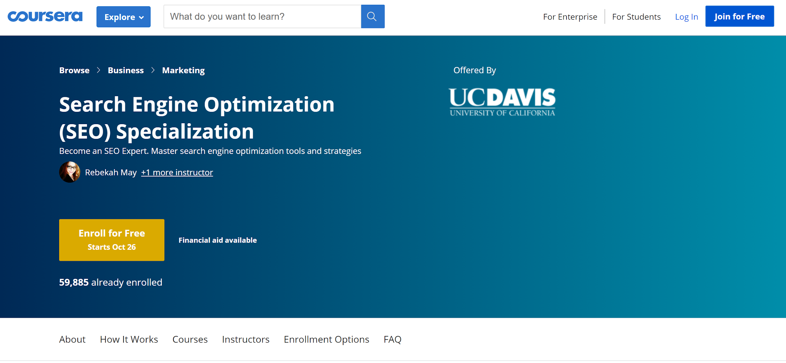 Coursera Search Engine Optimization (SEO) Specialization