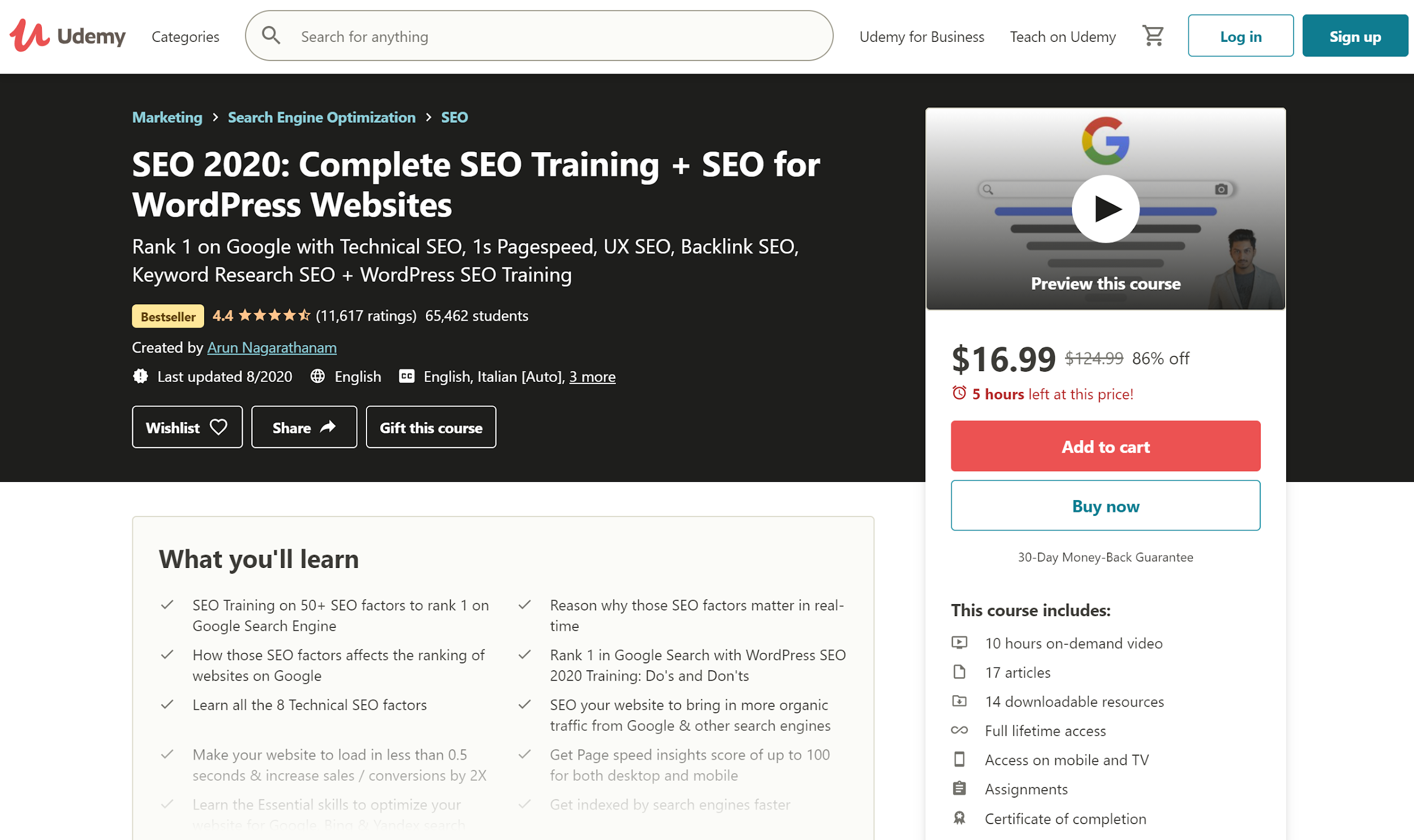 Udemy SEO: Complete SEO Training + SEO for WordPress Websites