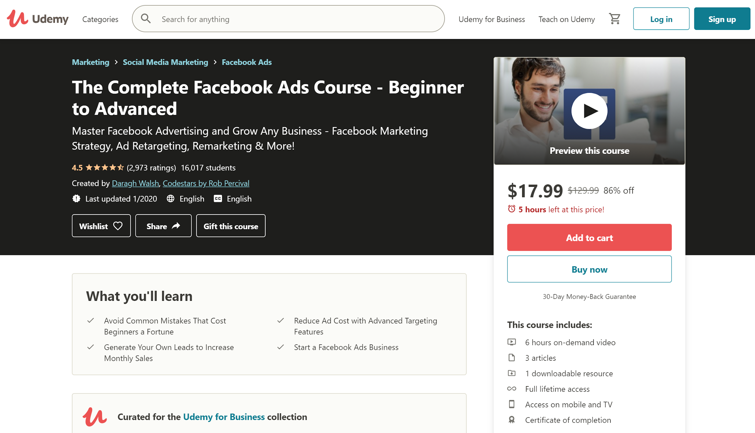 Udemy The Complete Facebook Ads Course - Beginner to Advanced