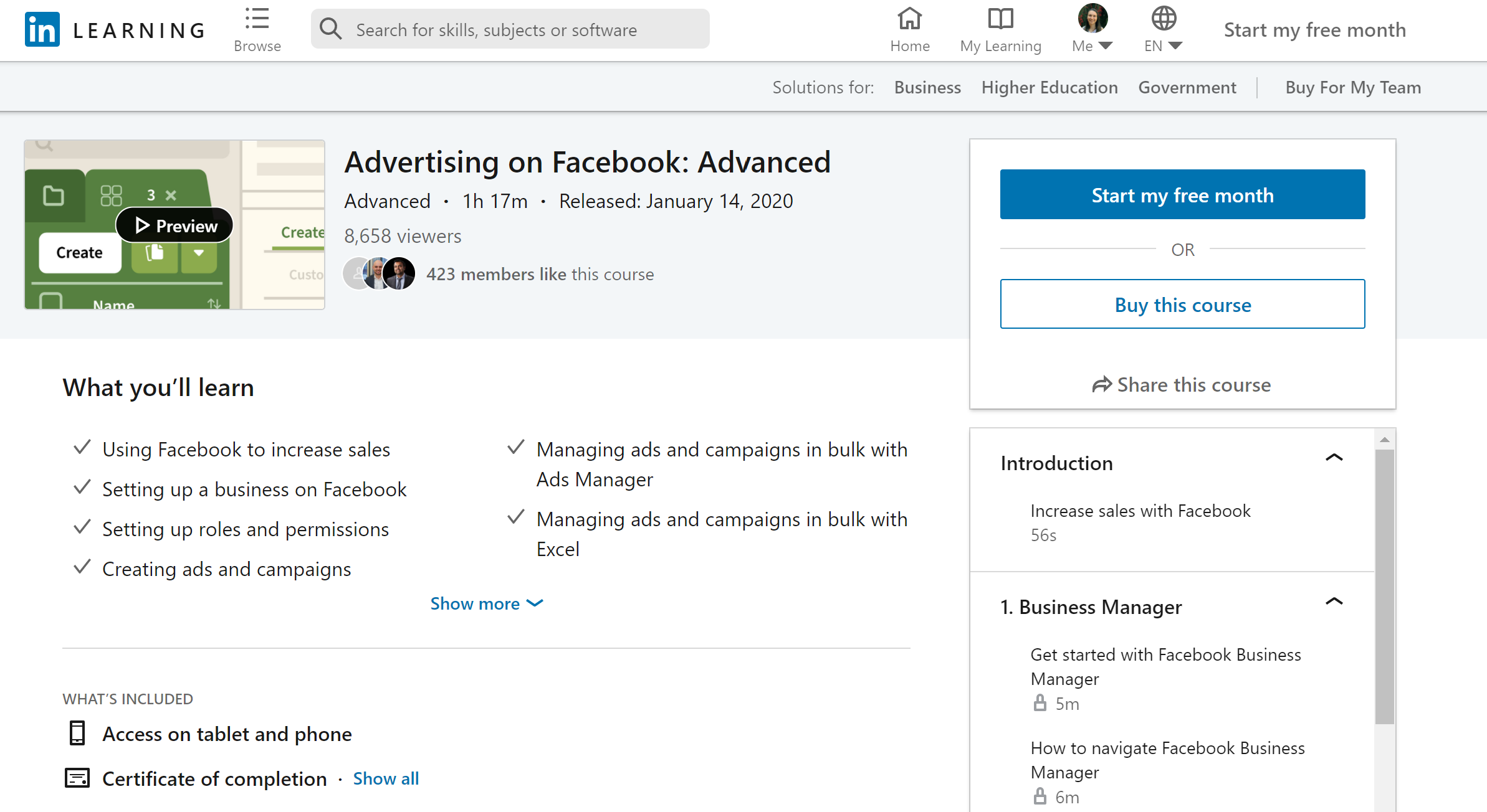 LinkedIn Learning Advertising on Facebook: Advanced