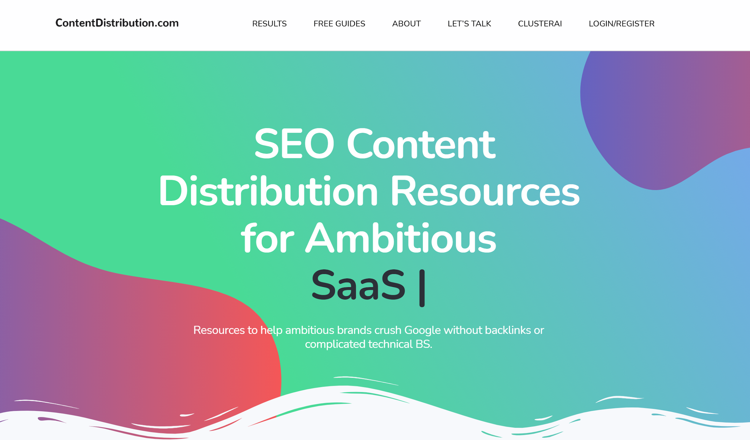 Content Distribution B2B SEO Agency website homepage
