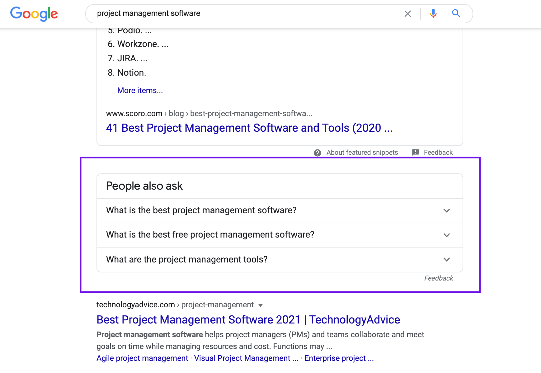People also ask Google Panel